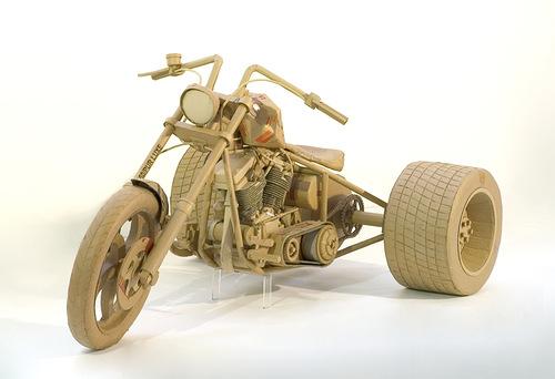 Old bike. Cardboard sculpture by British artist Chris Gilmour
