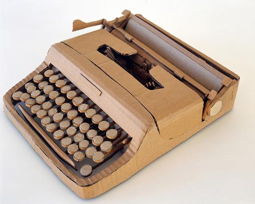 Type writer. Cardboard sculpture by British artist Chris Gilmour