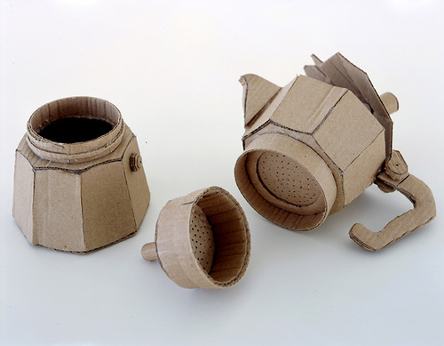 Coffee pot. Cardboard sculpture by British artist Chris Gilmour