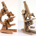Microscopes. Cardboard sculpture by British artist Chris Gilmour
