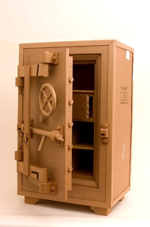 Safe. Cardboard sculpture by British artist Chris Gilmour