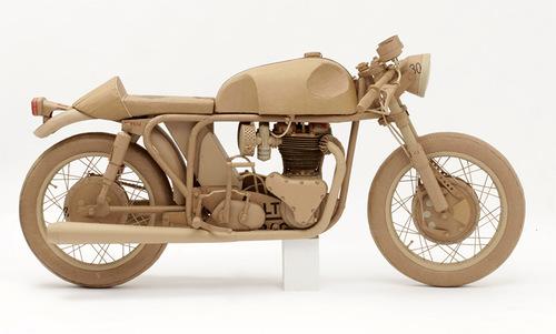 Bike. Cardboard sculpture by British artist Chris Gilmour