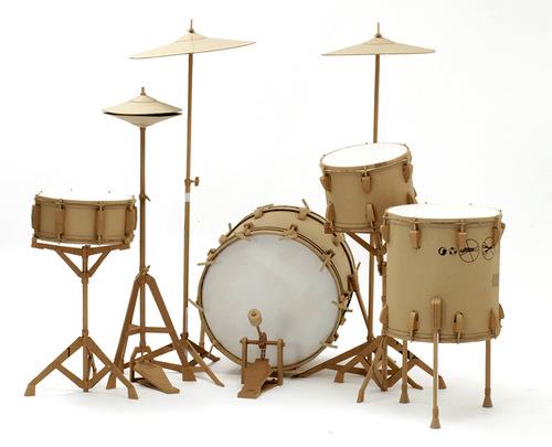 Drums. Cardboard sculpture by British artist Chris Gilmour