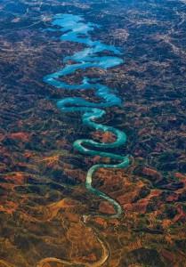 Beautiful blue river Odelia in Portugal. Photographer Steve Richards