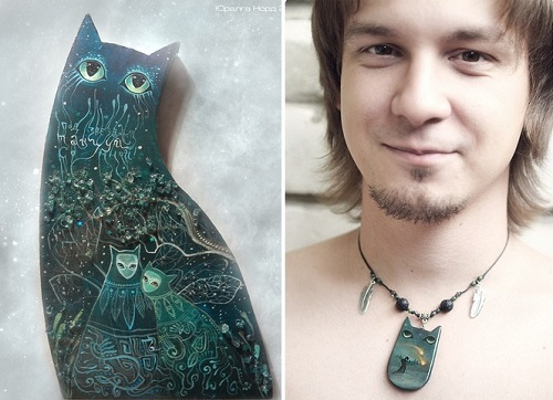 Mysterious cat jewelry by Juralga