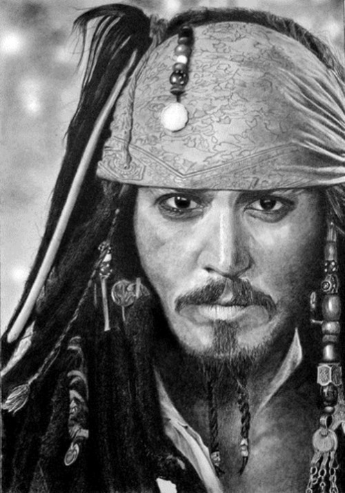 Johnny Depp as Jack Sparrow, pencil drawing by Franco Clun