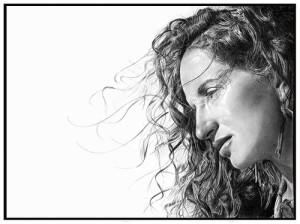 Marisa. Pencil on watercolor paper. Hyperrealistic pencil drawing by Italian artist Franco Clun