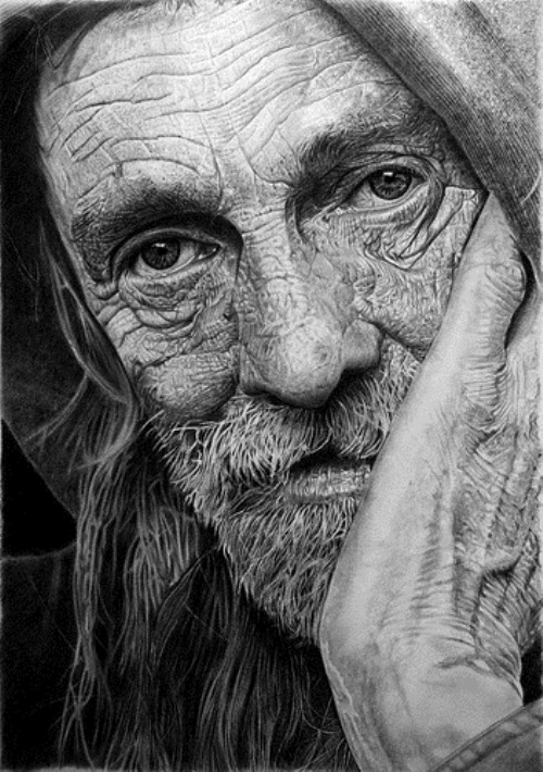 Homeless. Hyperrealistic pencil drawing by Italian artist Franco Clun