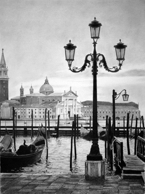Venice. Hyperrealistic pencil drawing by Italian artist Franco Clun