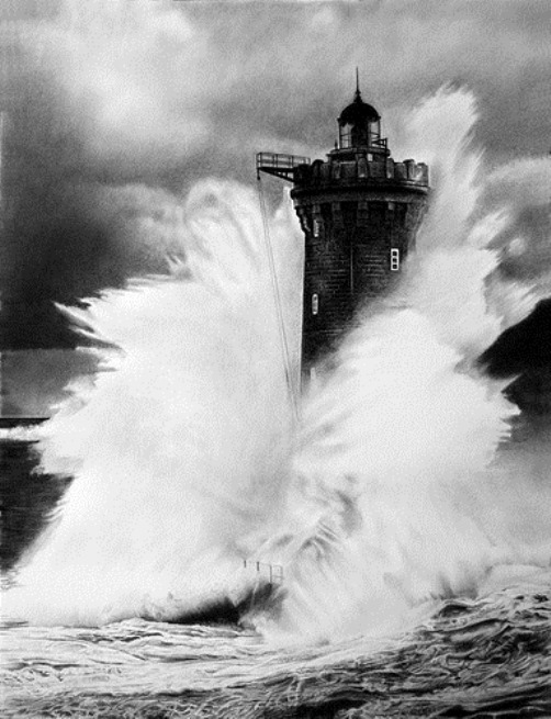 Lighthouse. Hyperrealistic pencil drawing by Italian artist Franco Clun