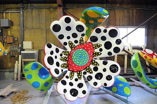 Bright polka dot installation