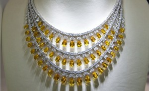 Beautiful necklace of white gold and precious stones