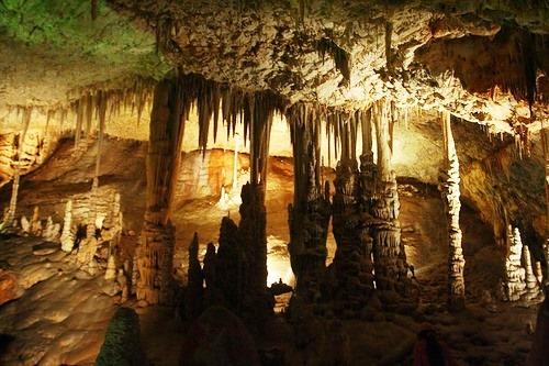 Stalactite pillars of cave Avshalom