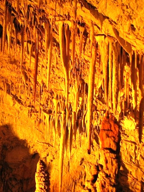 Common stalactites in the cave Avshalom