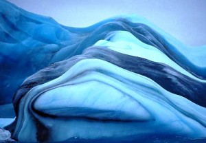 Picturesque striped icebergs
