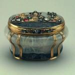 Amethyst quartz, gold, silver, diamonds, rubies, embossing, engraving. Height. Germany. Dresden. Mid-18th century.