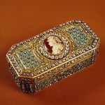 Snuff box with a portrait of Count Alexei Orlov Gold, silver, enamel, diamonds, embossing, engraving, painting.