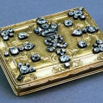 Snuffbox with the monogram of Peter II. Gold, silver, diamonds, miniature, stamping, polishing, engraving. Russia. St. Petersburg. Between 1727-1730