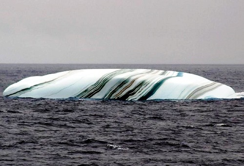 Striped icebergs with multiple color bands