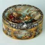 """Snuffbox """"Cesme"""". Gold, silver, diamonds, rubies, enamel, stamping, painting. Ador, Jean Pierre. Russia. St. Petersburg. 1771"""