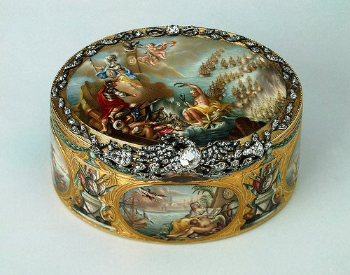 "Snuffbox ""Cesme"". Gold, silver, diamonds, rubies, enamel, stamping, painting. Ador, Jean Pierre. Russia. St. Petersburg. 1771"