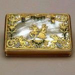 Snuff-box with a dancing couple. Gold, pearl, enamel, engraving, polishing, painting. France. Early 18th century