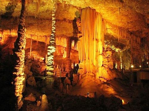 Pillars of stalactite cave Avshalom