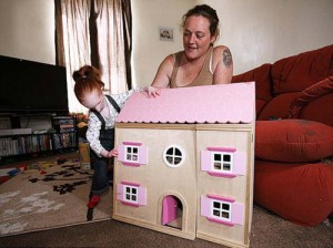 Playing with doll house