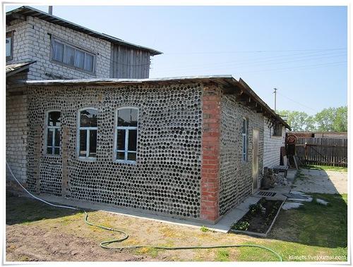 village Yalutorovo, Tyumen region, house of bottles