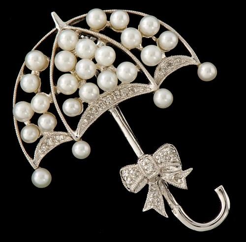 A Gold, Pearl and Diamond Umbrella Brooch