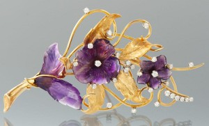 A Large Carved Amethyst, Diamond and Gold Brooch