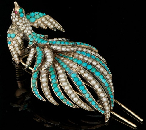 A Victorian Turquoise and Seed Pearl Brooch