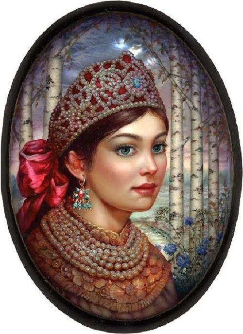 A beauty in a birch tree forest. Lacquer paintings by Sergey Knyazev