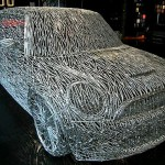 The front side of the car built from nails. Author of this copy of the famous Mini Cooper S car Alexander Geissler