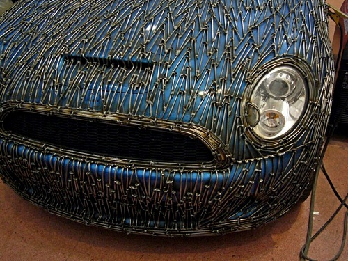 Beautiful details. A copy of the famous Mini Cooper S car built by German sculptor Alexander Geissler