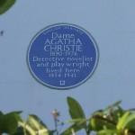 Blue plaque Agatha Christie. No. 58 Sheffield Terrace, Kensington & Chelsea, London