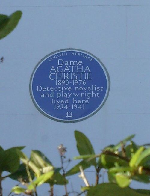 Blue plaque Agatha Christie. No. 58 Sheffield Terrace, Kensington & Chelsea, London