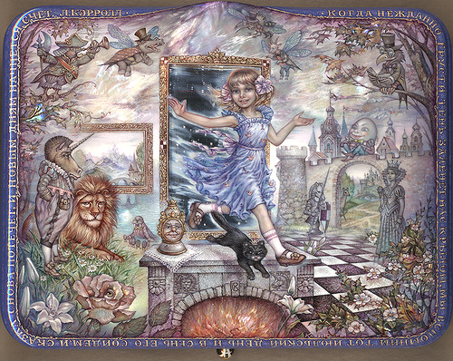 """Through the Looking Glass And What Alice Found There"". Alice is coming through the mirror to other world"