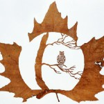 An owl in the tree. Leaf cut art by Spanish self-taught artist Lorenzo Duran