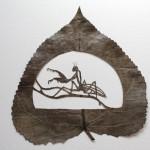 Grasshopper. Artful Leaf cutting by Spanish self-taught artist Lorenzo Duran