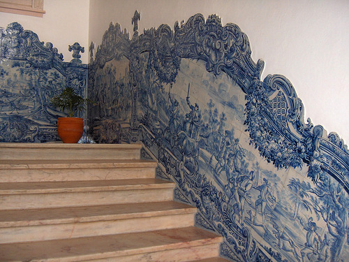Staircase decorated with Azulejo art