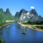 Summer morning. Beautiful River Lee in China