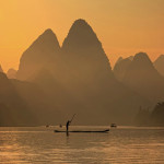 Last rays of sun. River Lee in China