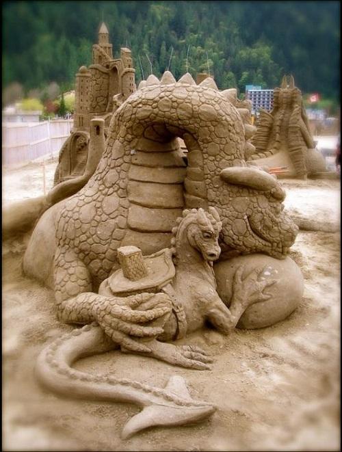Touching image of dragon family