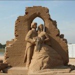 Romantic sand sculpture of a just married couple appeared on the territory of Xanten Archaeological Park, Germany