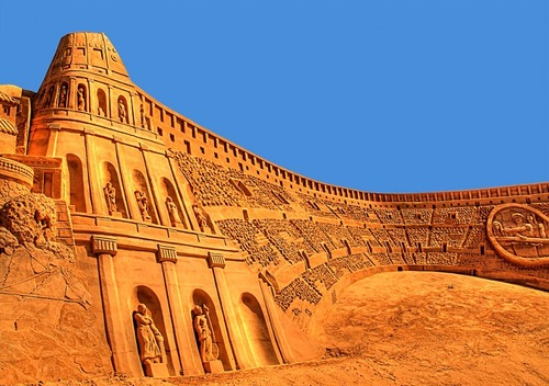 Ancient architecture in sand sculpture