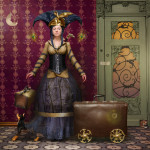 A lady with suitcases. Beautiful fantasy world in photoart of Russian photographer Vladimir Fedotko