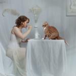 Feeding a cat. Beautiful fantasy world in photoart of Russian photographer Vladimir Fedotko