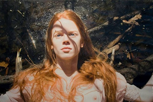 Red-haired girl. Painting by Yigal Ozeri