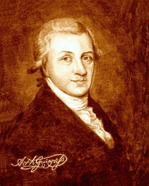 Portrait of Arthur Guinness - an Irish brewer and the founder of the Guinness brewery business